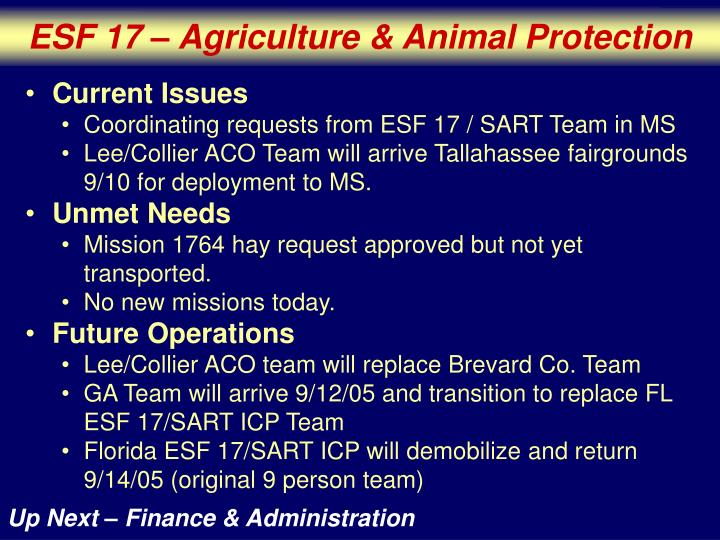 ESF 17 – Agriculture & Animal Protection