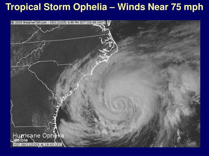 Tropical Storm Ophelia – Winds Near 75 mph