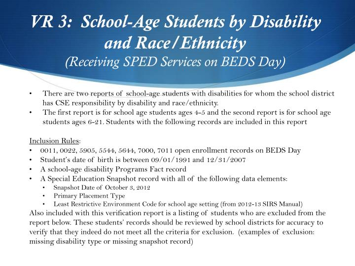 VR 3:  School-Age Students by Disability and