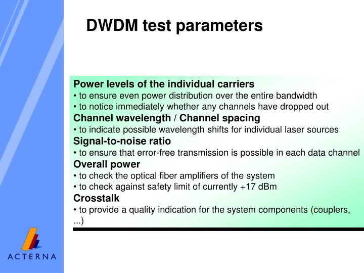 DWDM test parameters