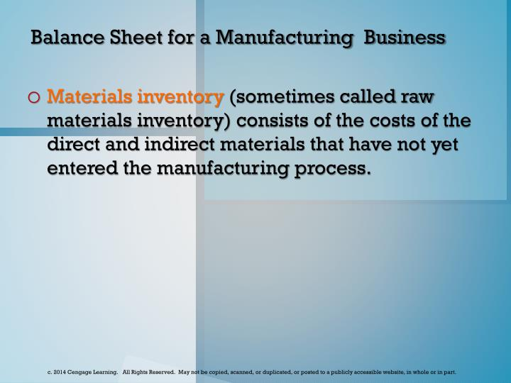 Balance Sheet for a Manufacturing  Business
