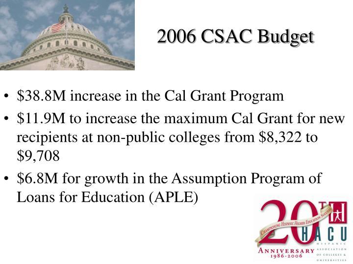 2006 CSAC Budget