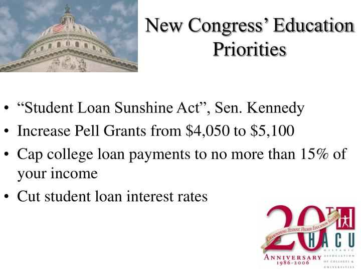 New Congress' Education Priorities
