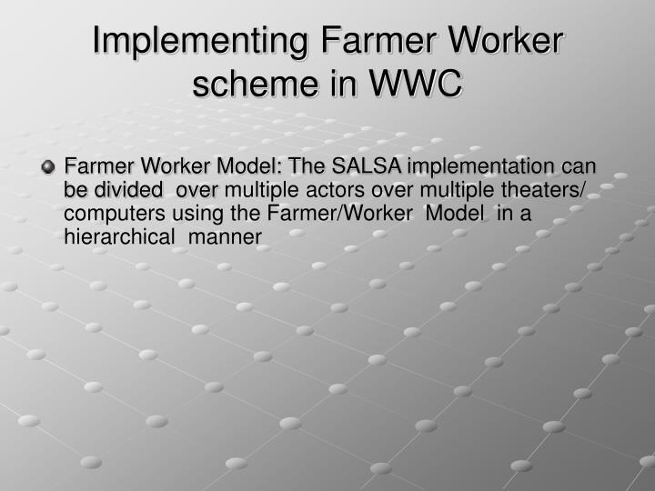 Implementing Farmer Worker scheme in WWC