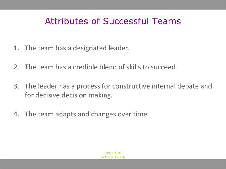 Attributes of Successful Teams