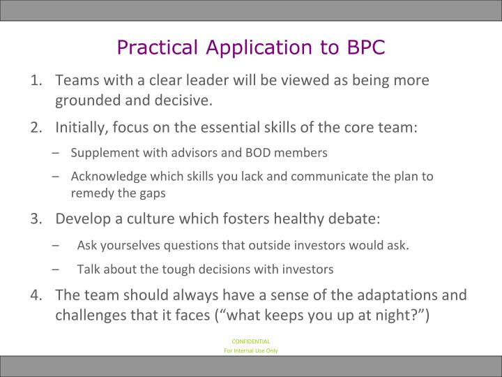 Practical Application to BPC