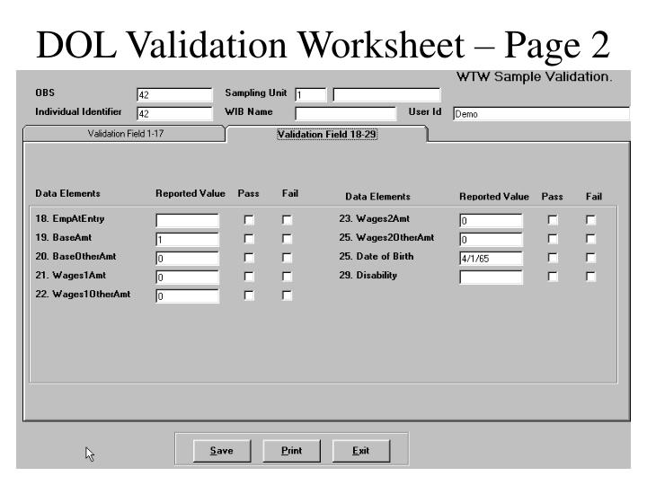 DOL Validation Worksheet – Page 2