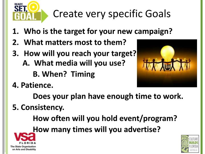 Create very specific Goals