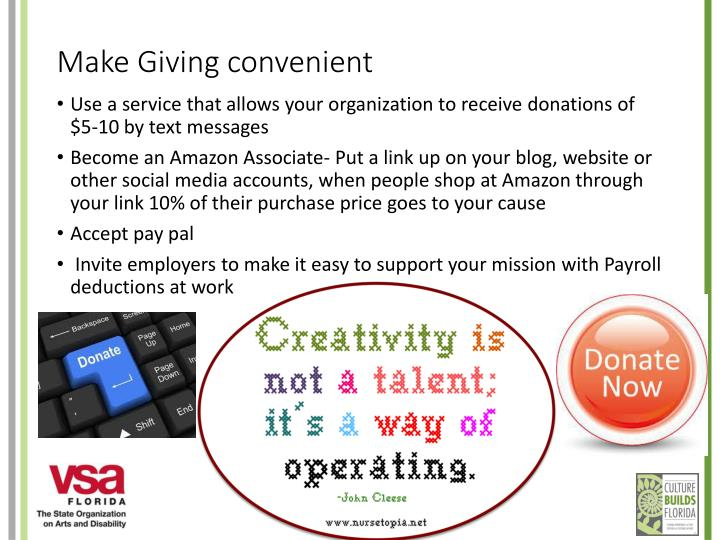 Make Giving convenient