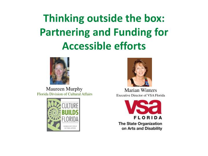 Thinking outside the box:  Partnering and Funding for Accessible efforts