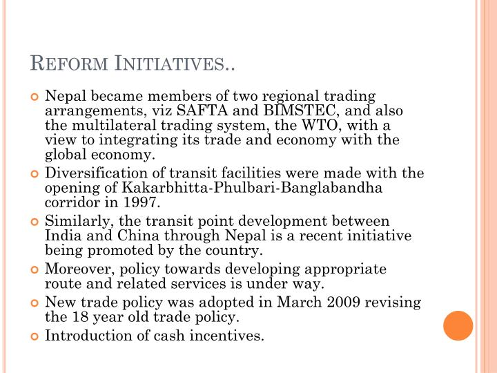 Reform Initiatives..