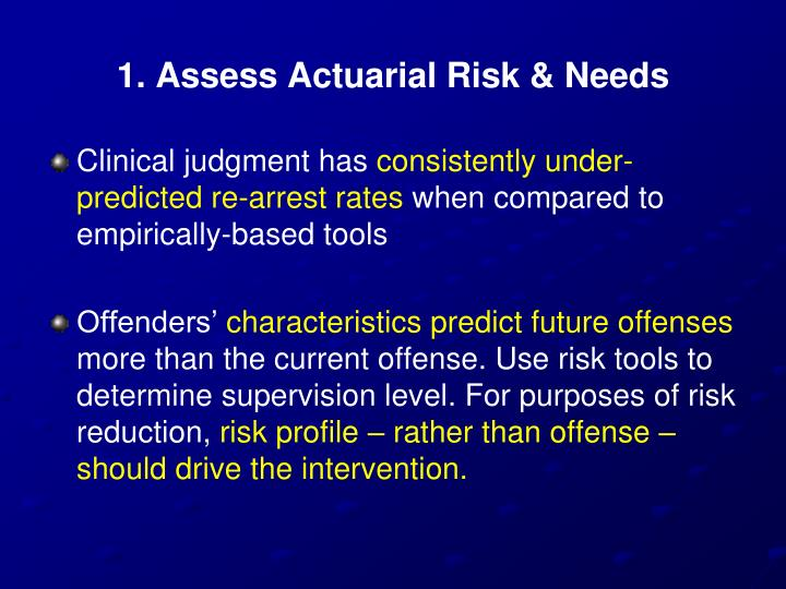 1. Assess Actuarial Risk & Needs
