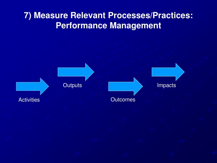 7) Measure Relevant Processes/Practices: Performance Management