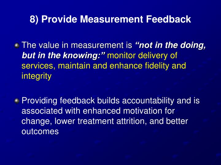 8) Provide Measurement