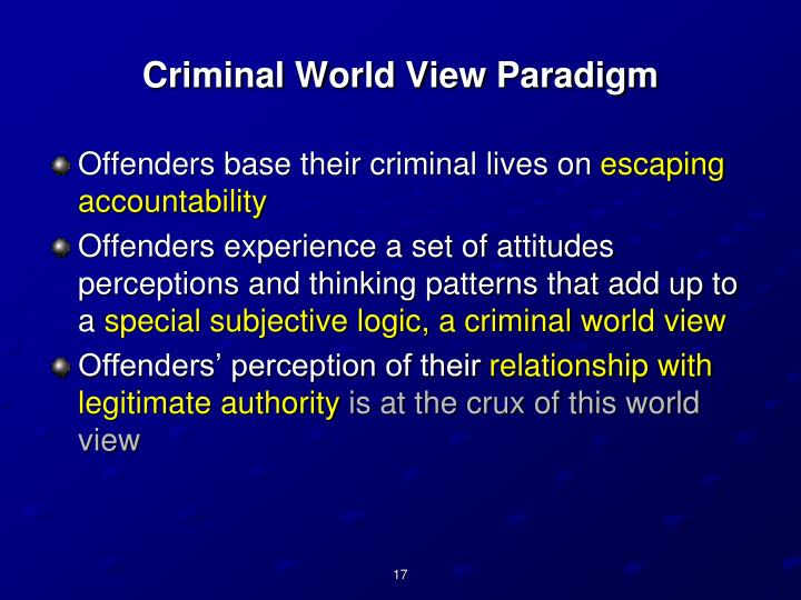 Criminal World View Paradigm