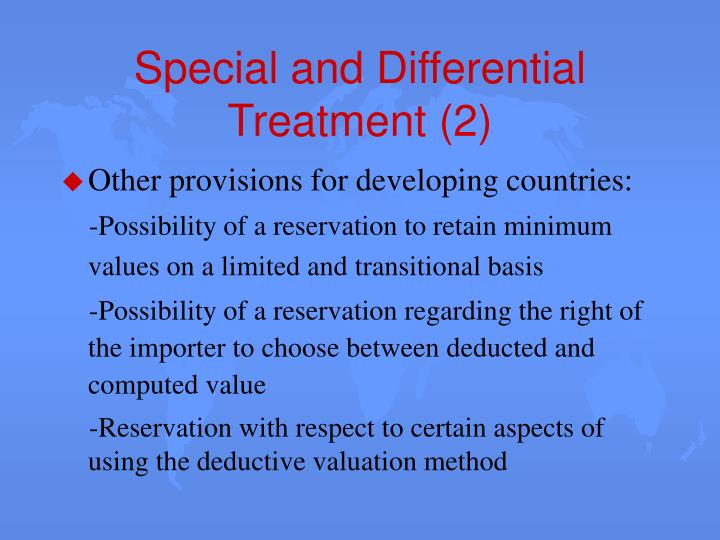 Special and Differential Treatment (2)