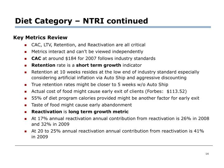 Diet Category – NTRI continued