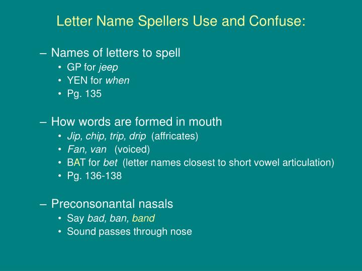 Letter Name Spellers Use and Confuse: