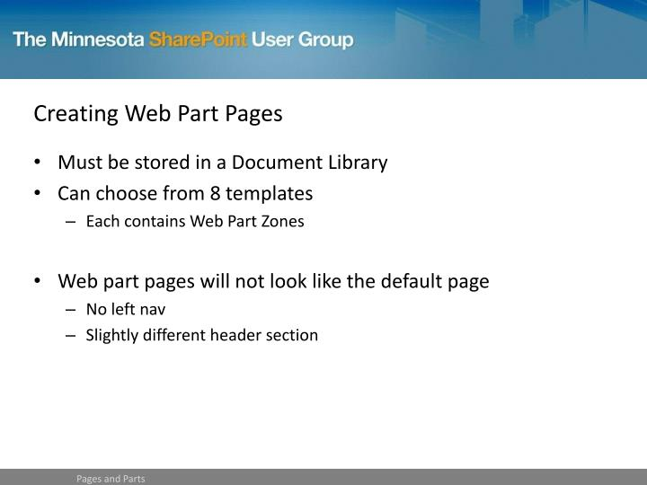 Creating Web Part Pages