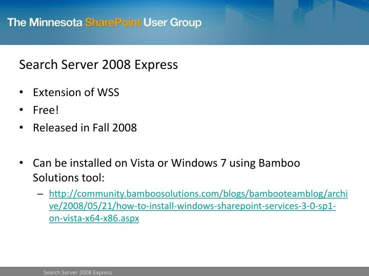 Search Server 2008 Express