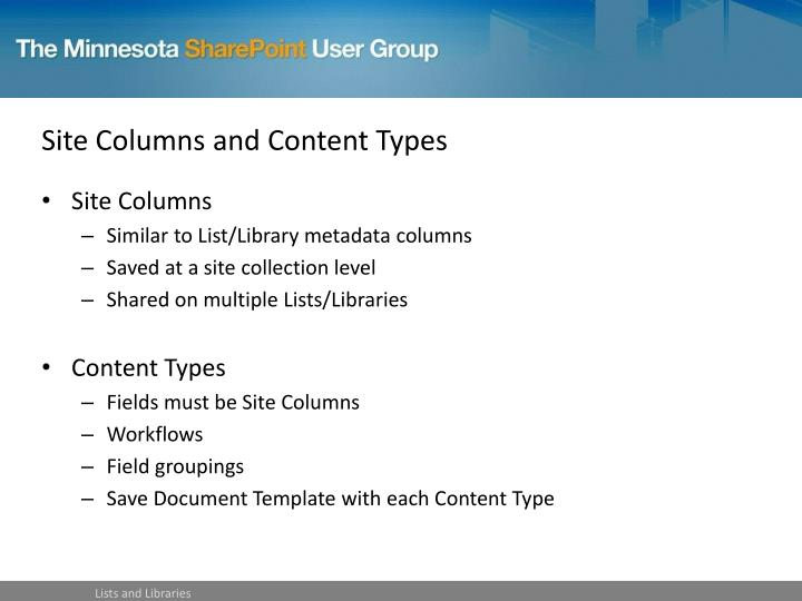Site Columns and Content Types