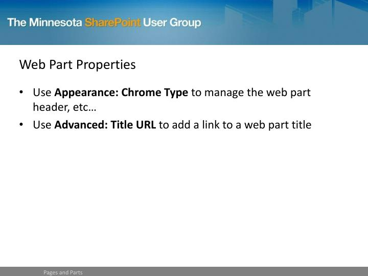 Web Part Properties