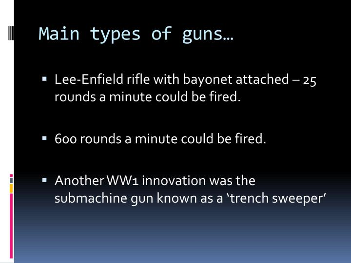 Main types of guns…
