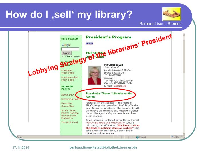 Lobbying Strategy of the librarians' President