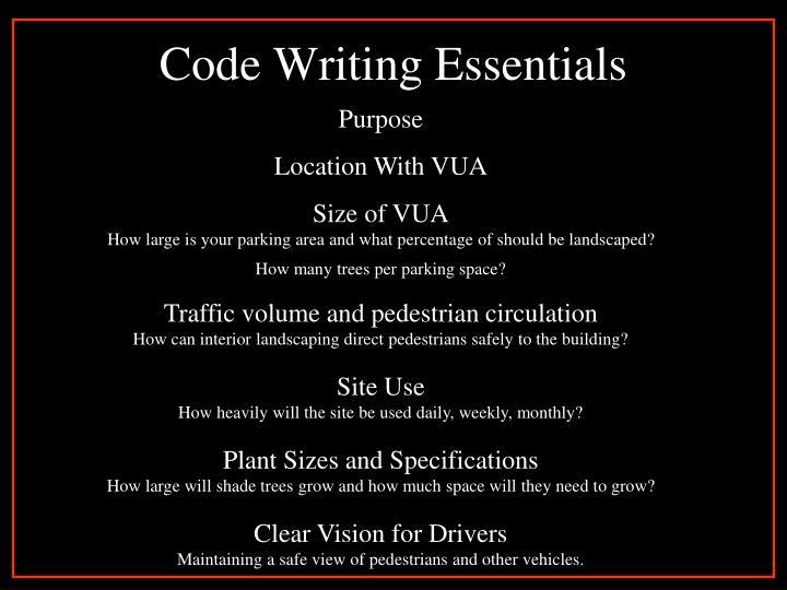 Code Writing Essentials