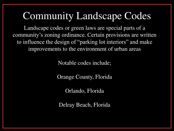 Community Landscape Codes