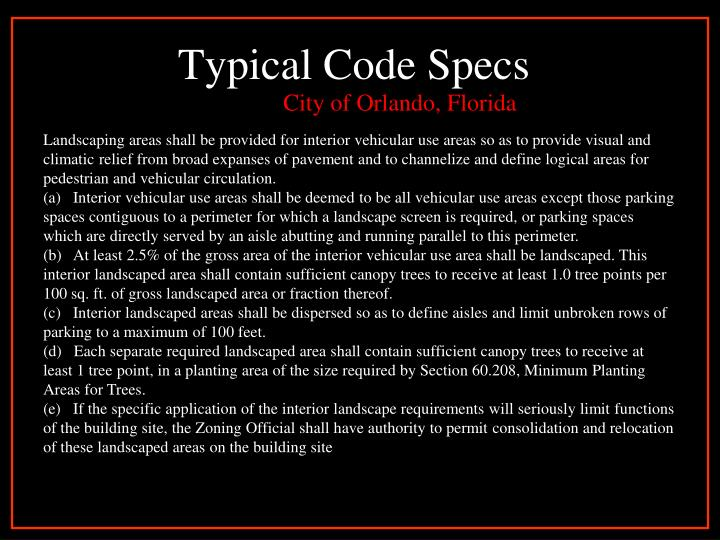 Typical Code Specs