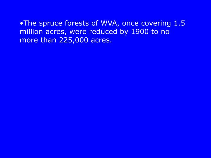 The spruce forests of WVA, once covering 1.5 million acres, were reduced by 1900 to no more than 225,000 acres.