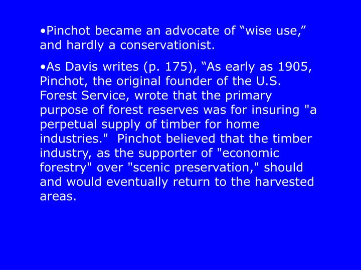 "Pinchot became an advocate of ""wise use,"" and hardly a conservationist."