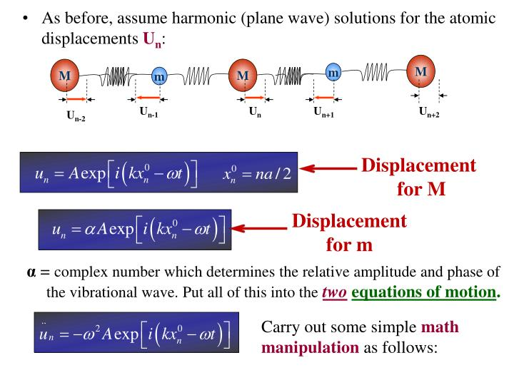 As before, assume harmonic (plane wave) solutions for the atomic displacements