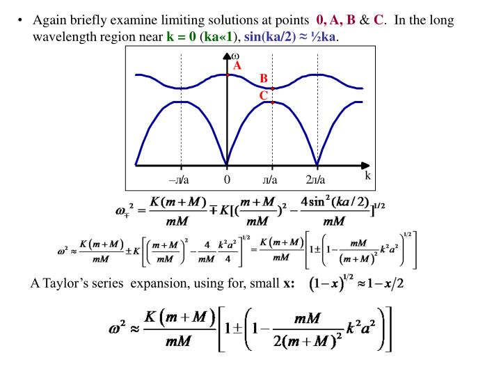 Again briefly examine limiting solutions at points