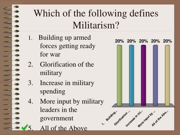 Which of the following defines Militarism?