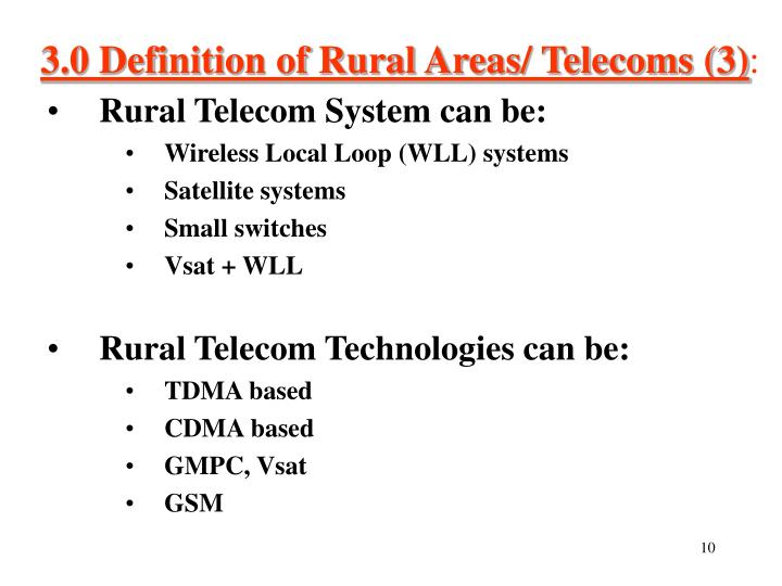 3.0 Definition of Rural Areas/ Telecoms (3)