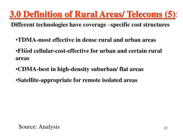 3.0 Definition of Rural Areas/ Telecoms (5)