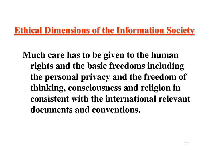 Ethical Dimensions of the Information Society
