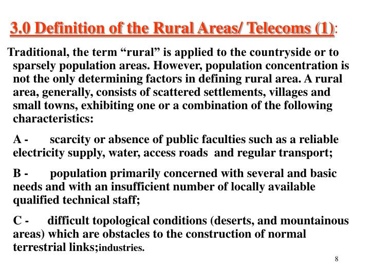 3.0 Definition of the Rural Areas/ Telecoms (1)