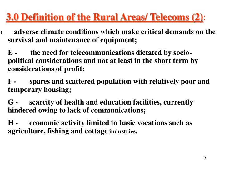 3.0 Definition of the Rural Areas/ Telecoms (2)