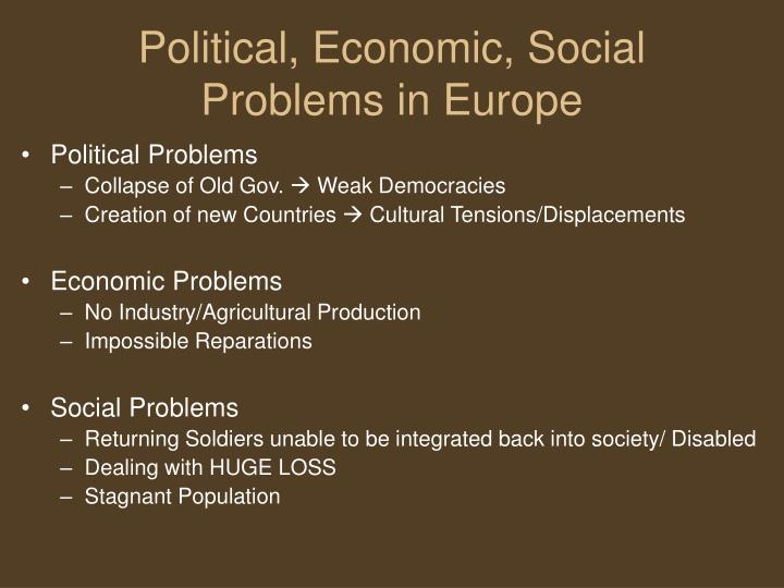 Political, Economic, Social Problems in Europe