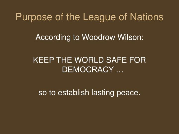 Purpose of the League of Nations