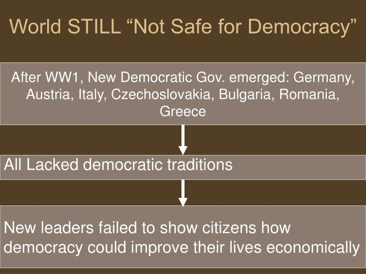 "World STILL ""Not Safe for Democracy"""