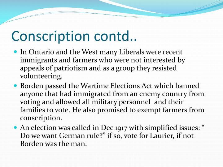 Conscription contd..