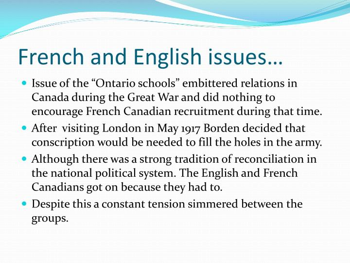 French and English issues…