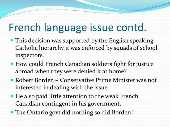 French language issue contd.