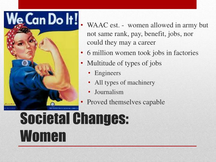 WAAC est. -  women allowed in army but not same rank, pay, benefit, jobs, nor could they may a career