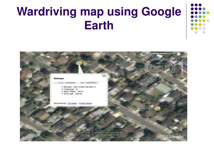 Wardriving map using Google Earth