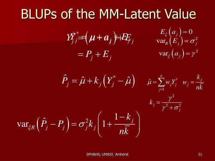 BLUPs of the MM-Latent Value
